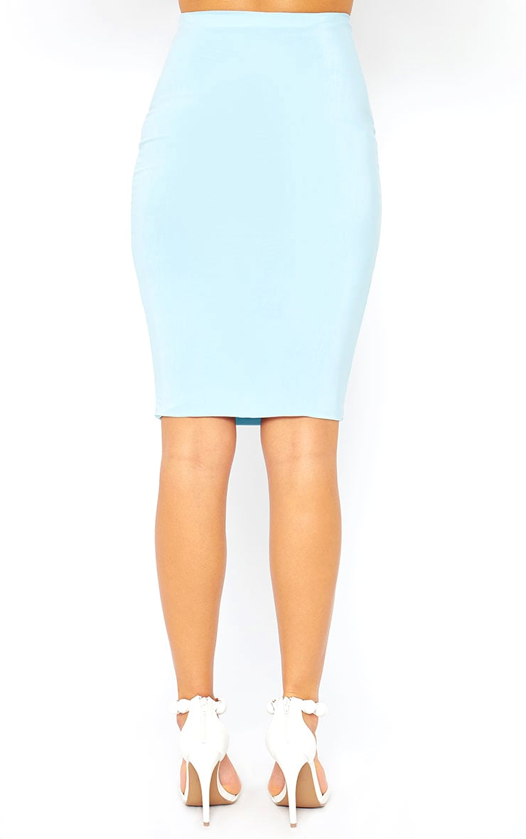 Arabella Powder Blue Slinky Midi Skirt 4