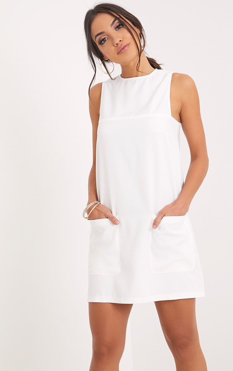 Madline White Pocket Detail Shift Dress  1