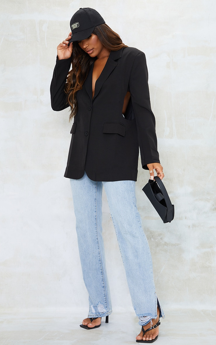 Black Woven Cut Out Oversized Blazer 1