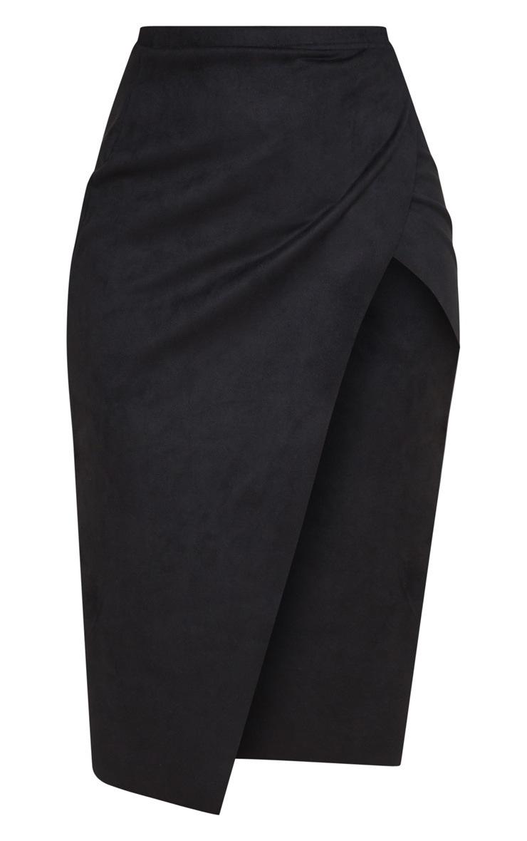 Black Faux Suede Extreme Split Wrap Midi Skirt 5