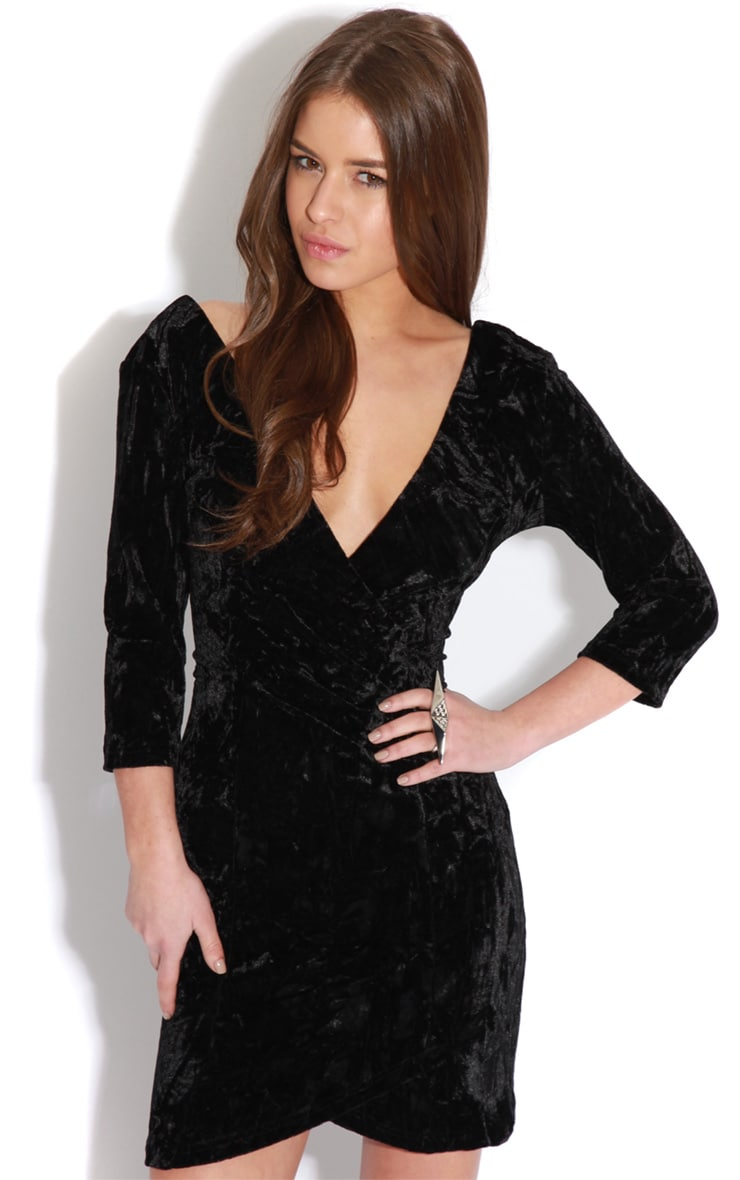 Isabella Black Crushed Velvet Crossover Dress 1