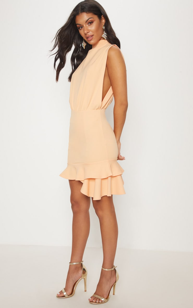 Tangerine High Neck Frill Hem Bodycon Dress 4