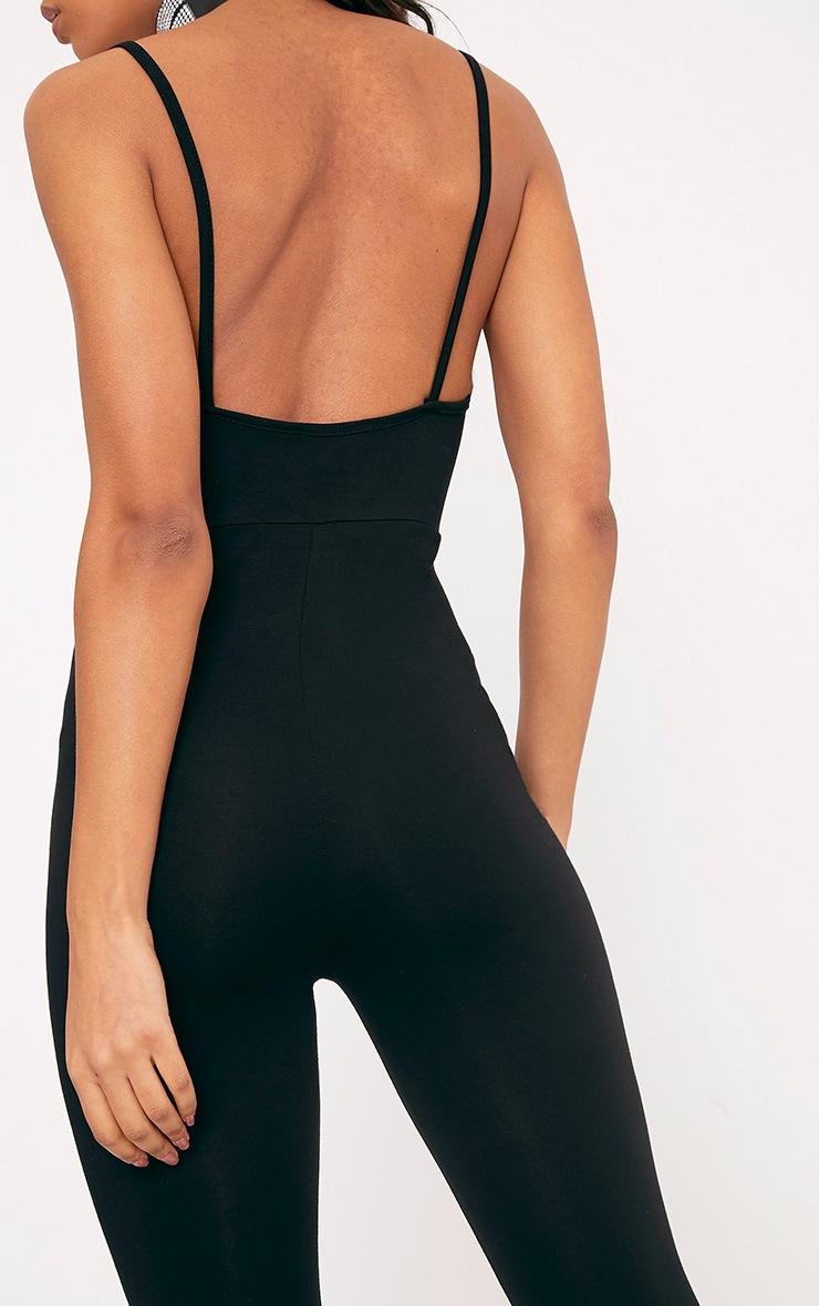 Khlara Black Jersey Low Back Jumpsuit 5