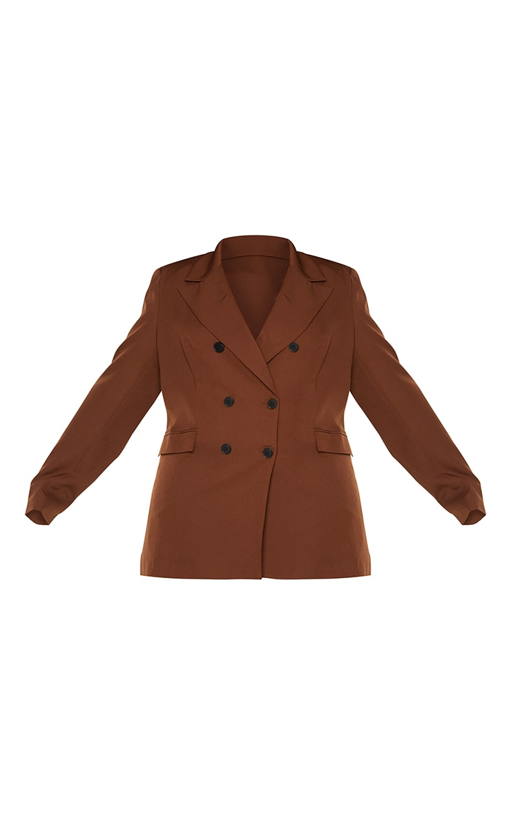 Plus Chocolate Brown Double Breasted Blazer 5