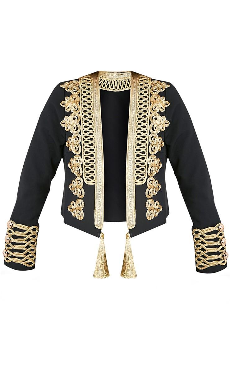 Cecilie Black Embroidered Crop Trophy Jacket 2