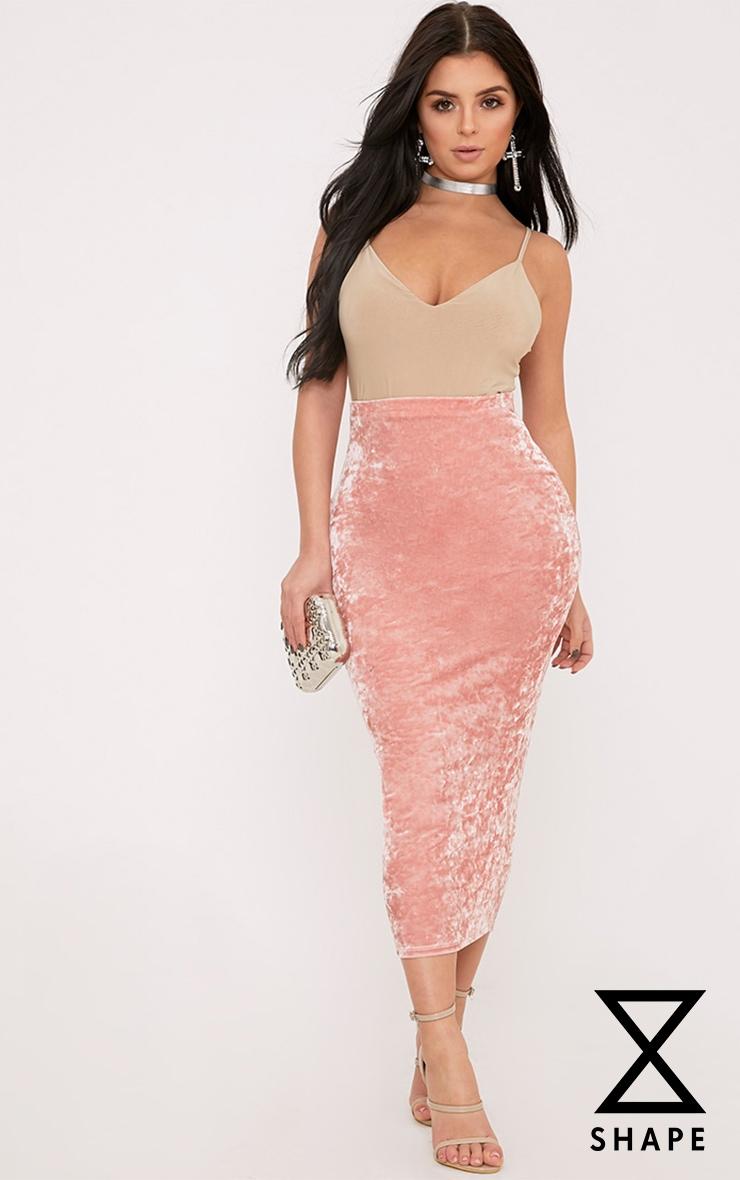 Shape Pearl Pink Velvet Midi Skirt  1