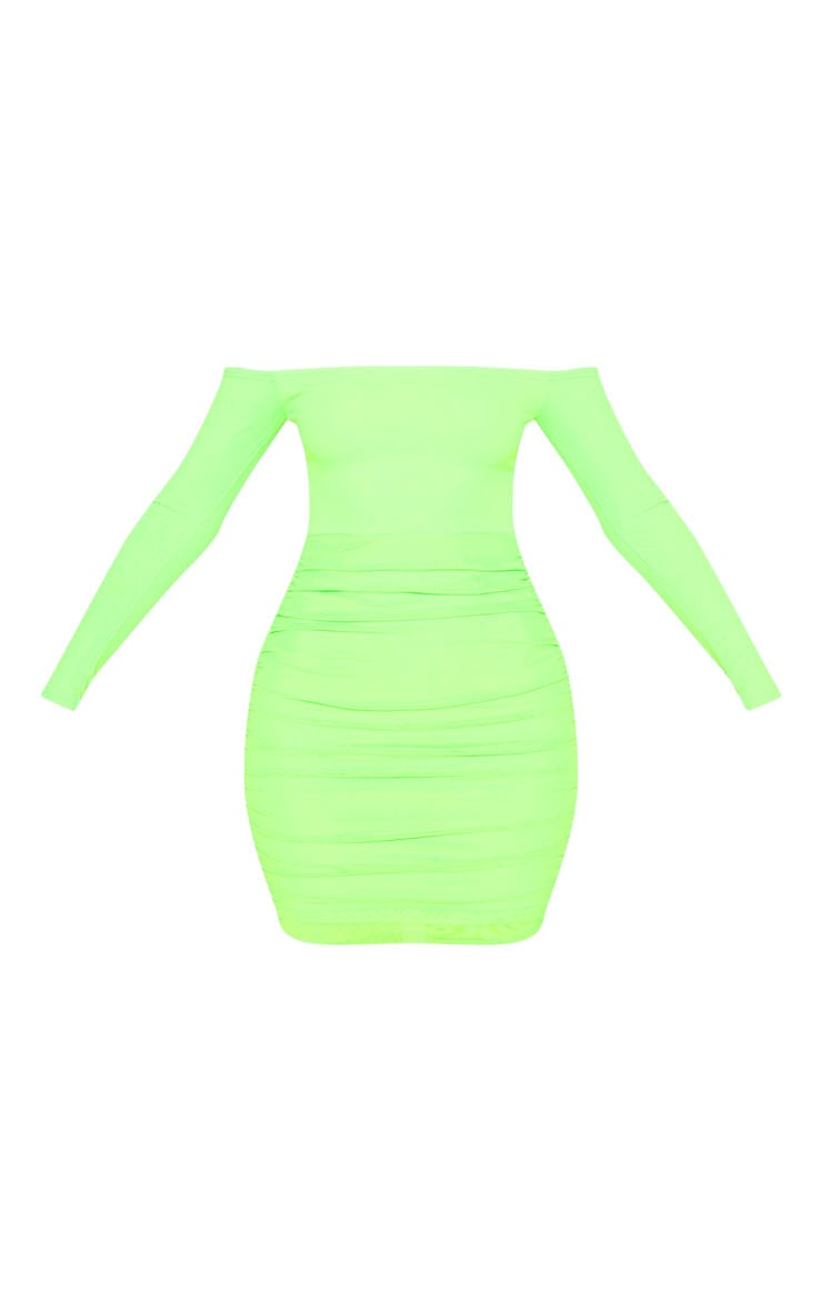 Neon Lime Bardot Long Sleeve Ruched Bodycon Dress 3
