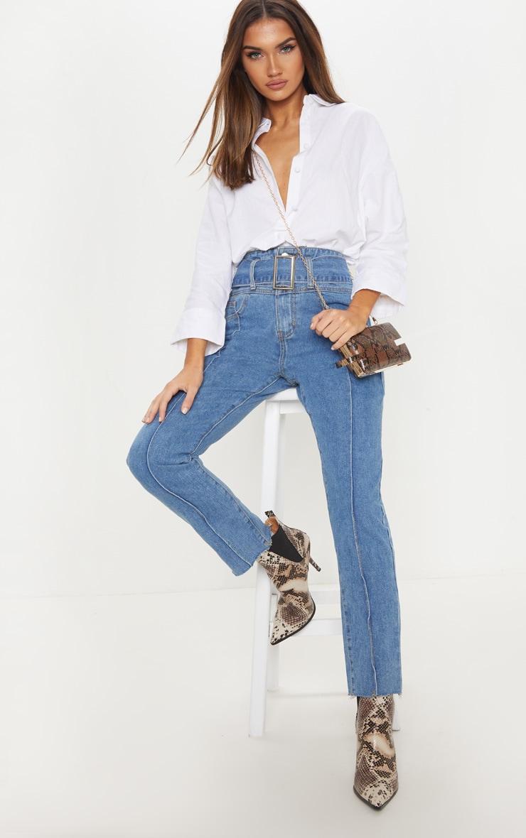 Mid Wash High Waist Slim Leg Belted Jean  1