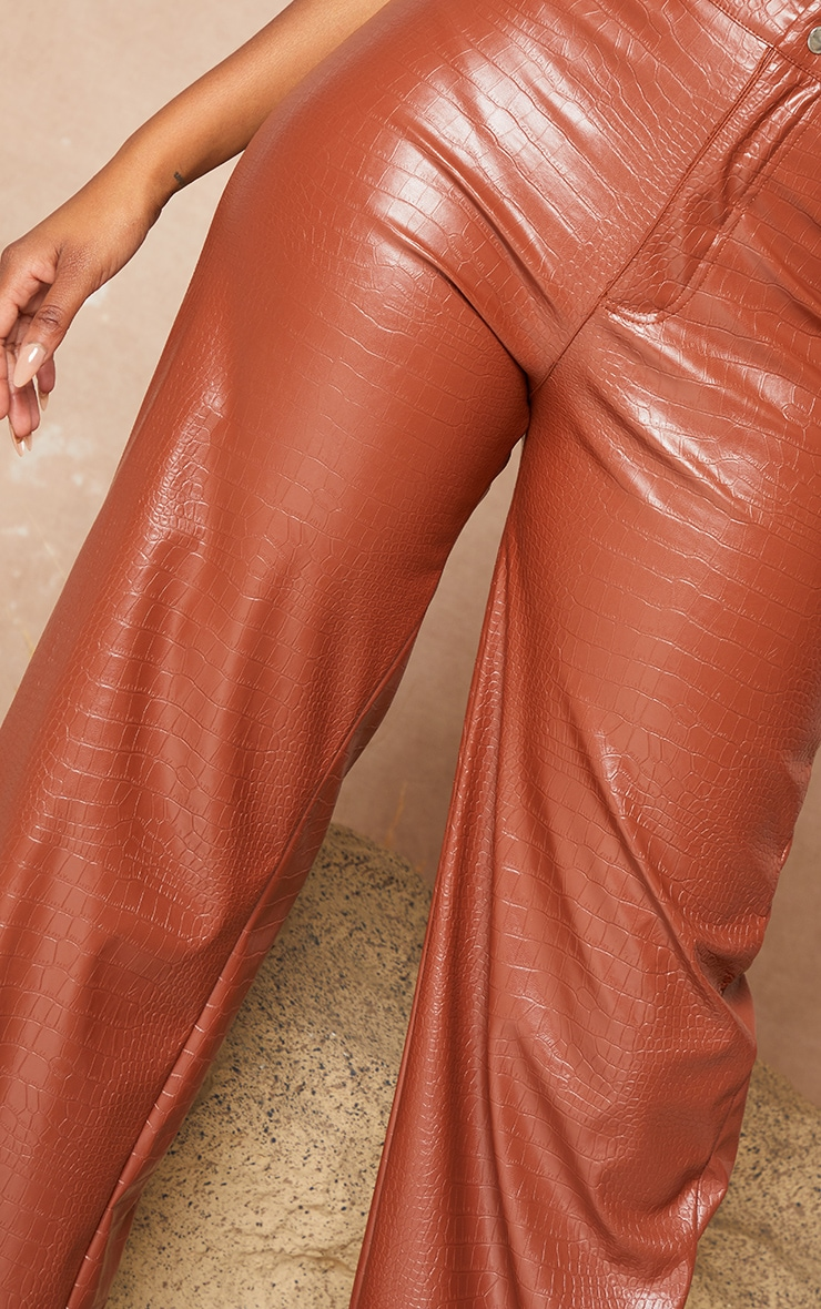 Brown Croc PU Wide Leg Trousers 5