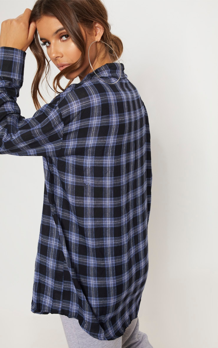 Midnight Blue Checked Oversized Pocket Detail Shirt 2