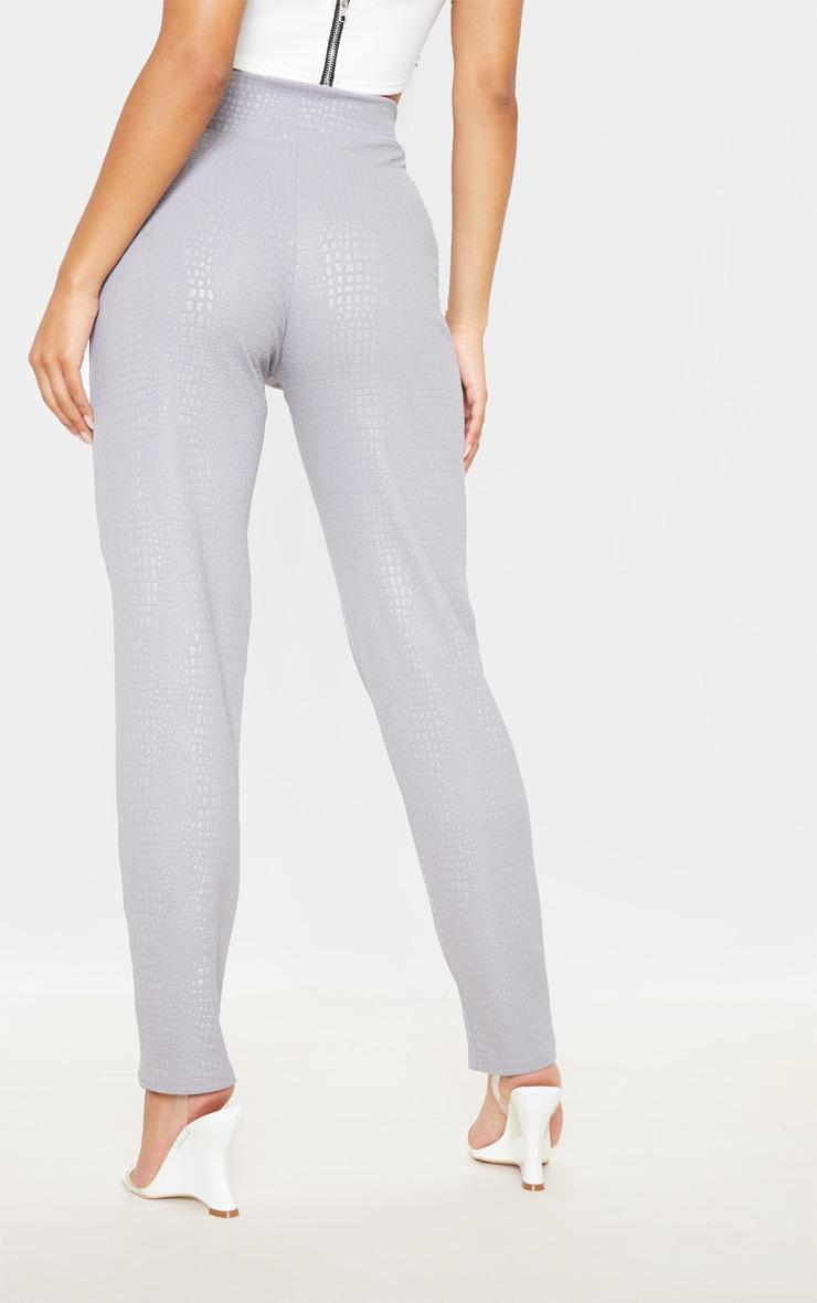 Grey Croc Print Tie Waist Skinny Trouser 4