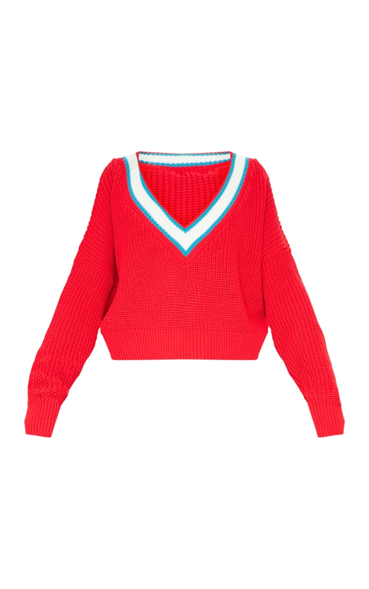 Red V Neck Knitted Jumper  3