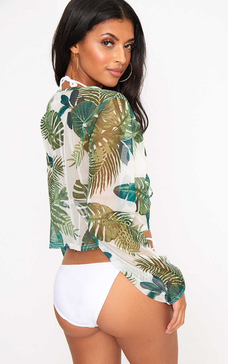Cream Palm Printed Mesh Ruched Beachwear Crop Top 2