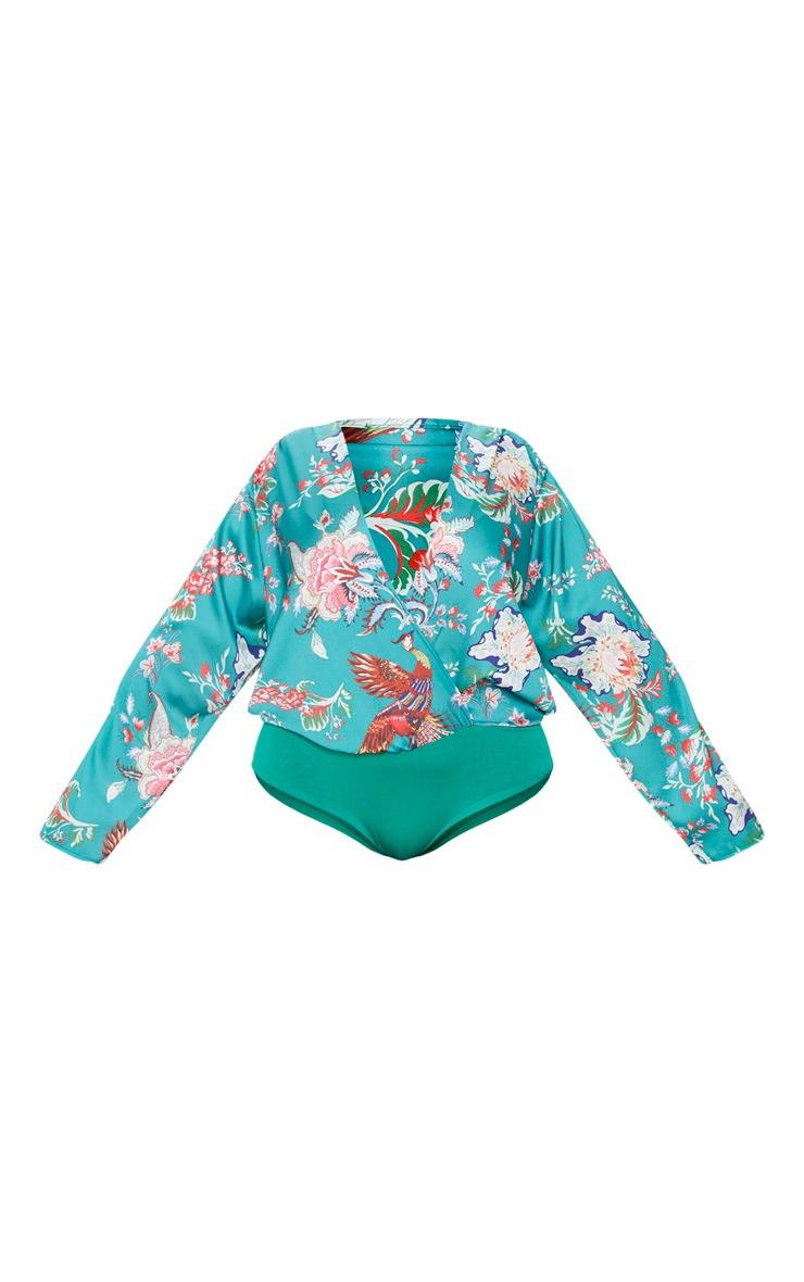 Plus Green Floral Wrap Bodysuit 3