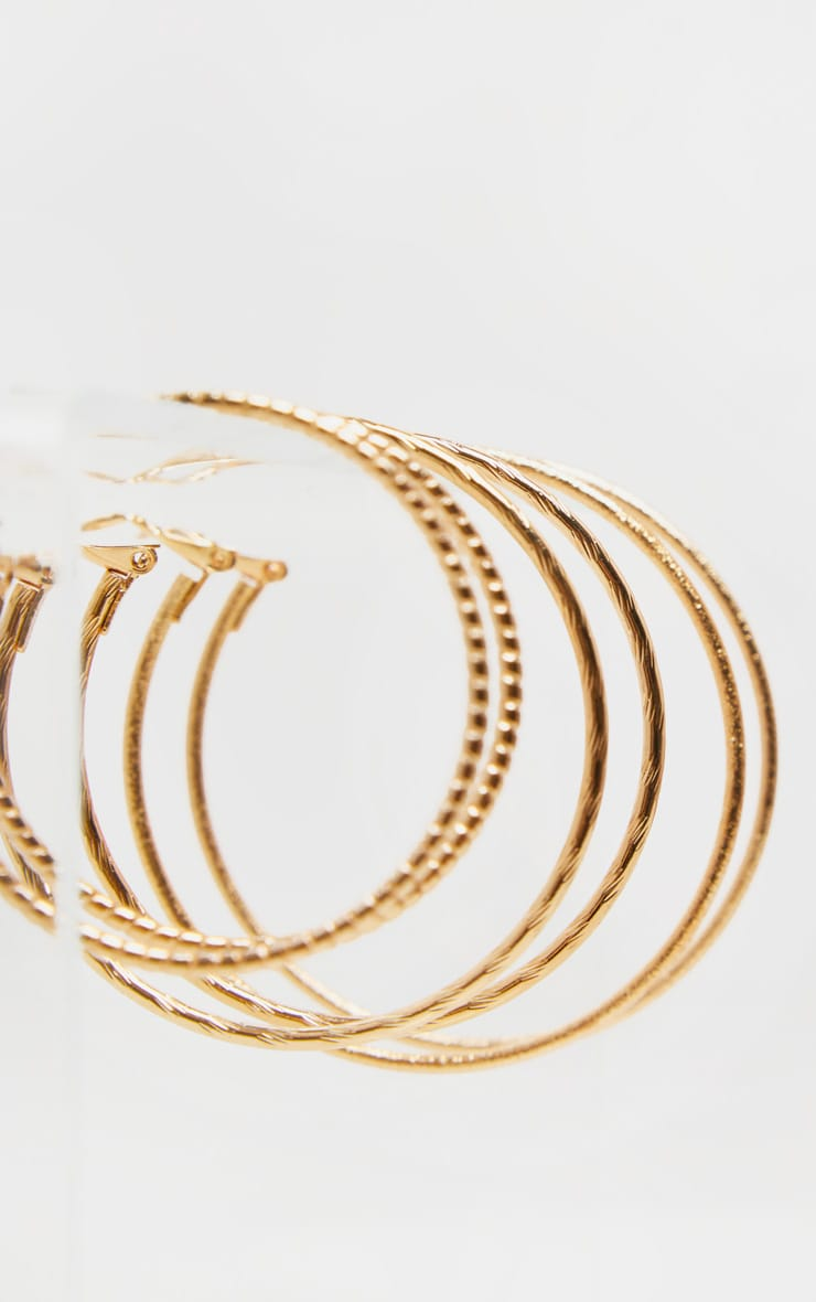 Gold Multi Textured Three Hoop Earring Pack 3
