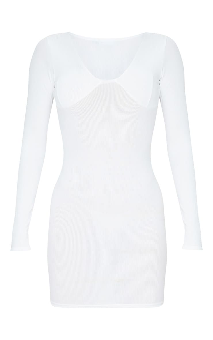 Tall Cream Ribbed Cup Detail Long Sleeve Mini Dress  3