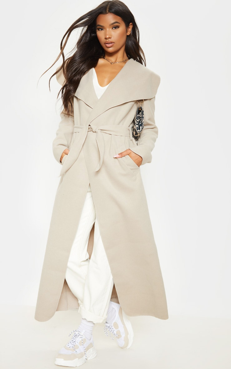 Stone Maxi Length Oversized Waterfall Belted Coat 4