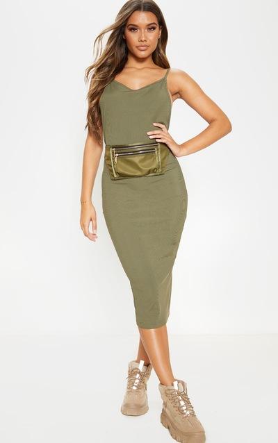 Khaki Strappy Backless Midi Dress