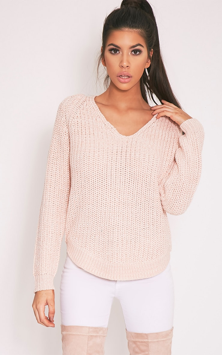 Elania Pink V Neck Cable Knit Jumper 1