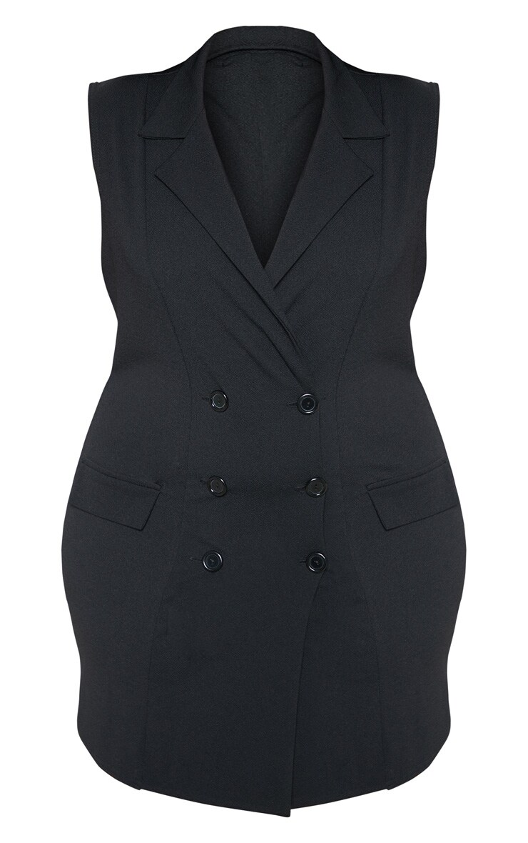 Plus Black Sleeveless Button Detail Blazer Dress 3