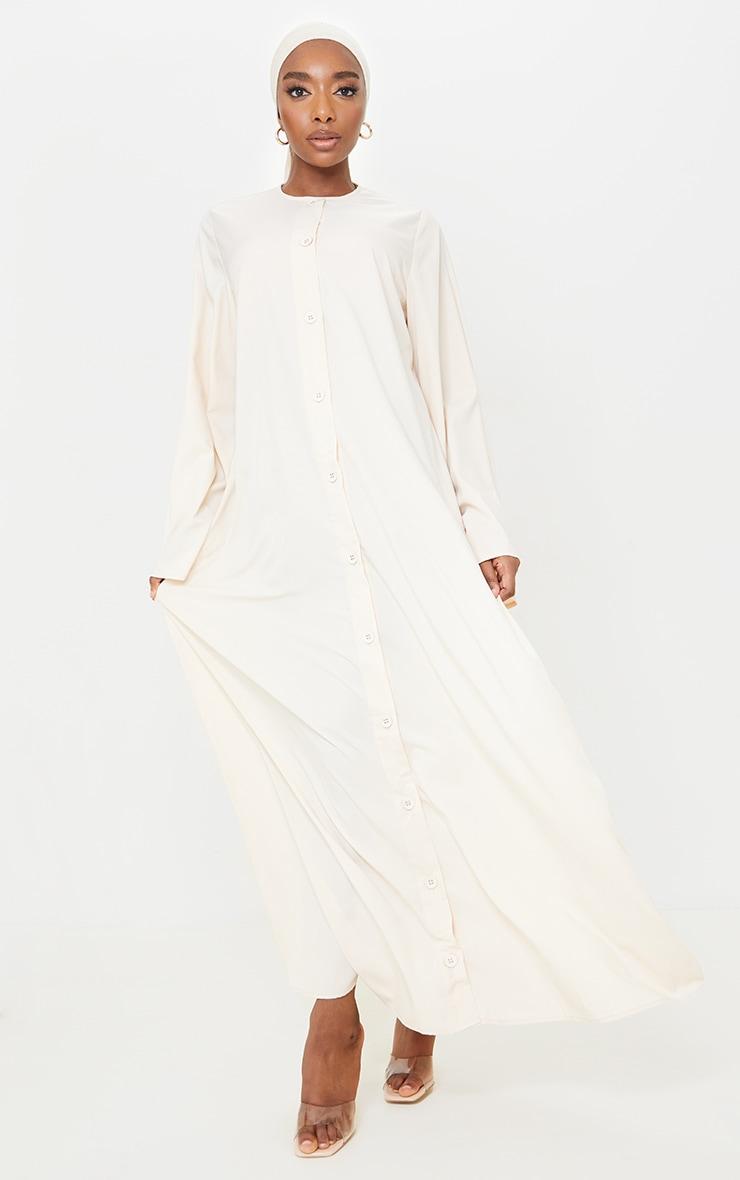 Robe chemise longue oversize en maille tissée gris pierre à boutonner, Gris pierre