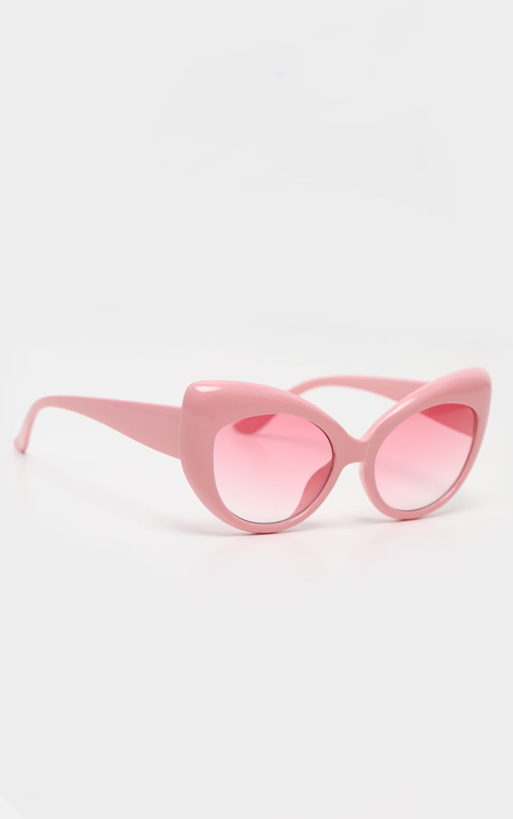 Pink Retro Chunky Cat Eye Frame Sunglasses 3
