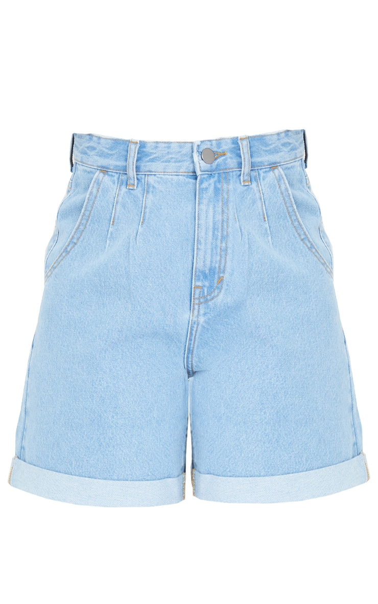 Tall Light Blue Turn Up Hem Mom Shorts 6