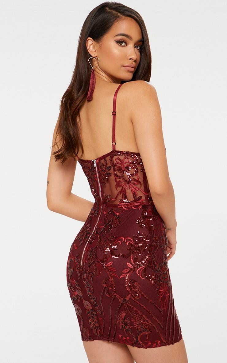 Burgundy Strappy Sheer Panel Sequin Bodycon Dress 2