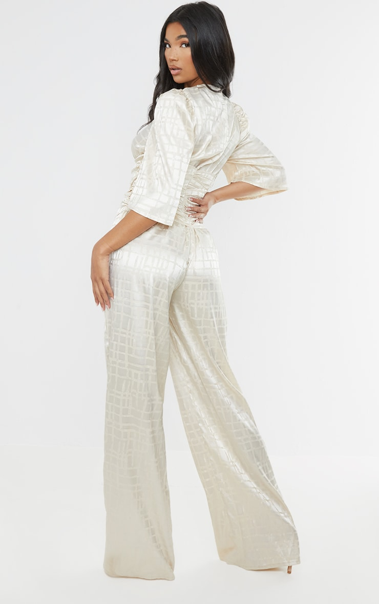 Champagne Satin Jacquard Short Sleeve Ruched Jumpsuit 2