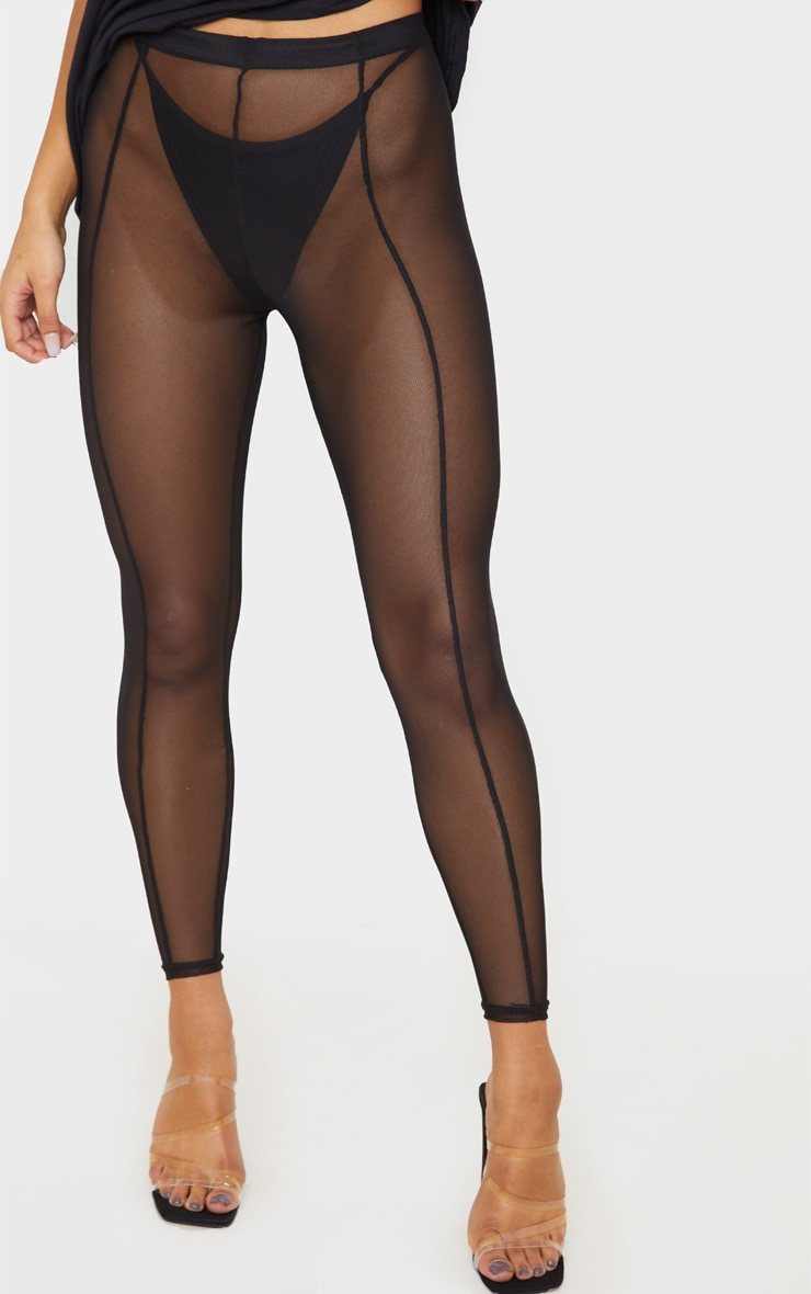 Black Mesh Seam Detail Legging 2