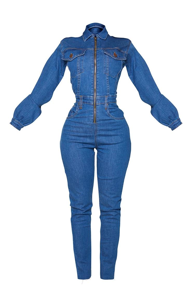 Shape - Combinaison en jean bleu moyennement délavé à zip devant 5