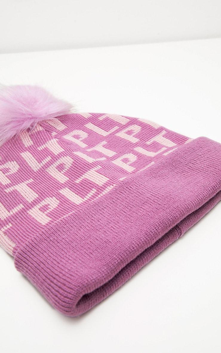 PRETTYLITTLETHING Pink Monogram Faux Fur Bobble Hat 2