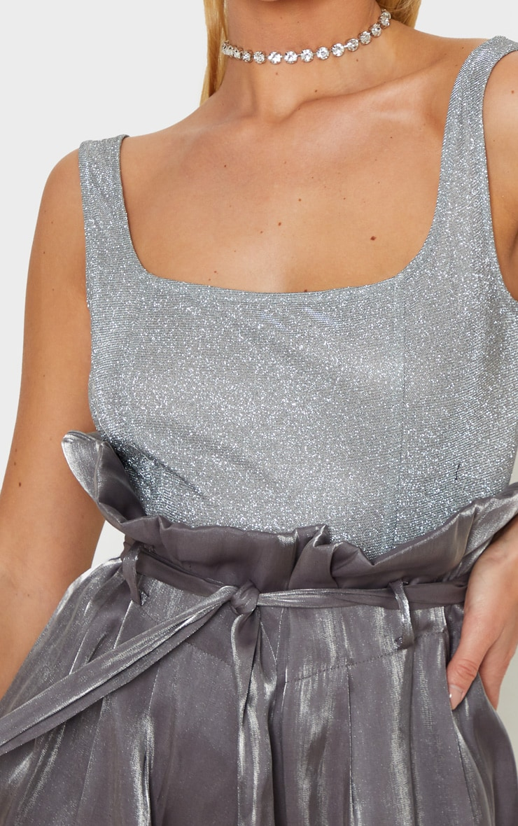 Silver Glitter Panelled Bodysuit 6