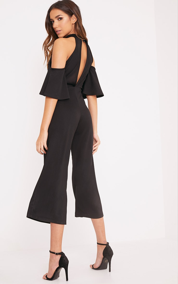 Jaymie Black Cold Shoulder Cullotte Jumpsuit 2
