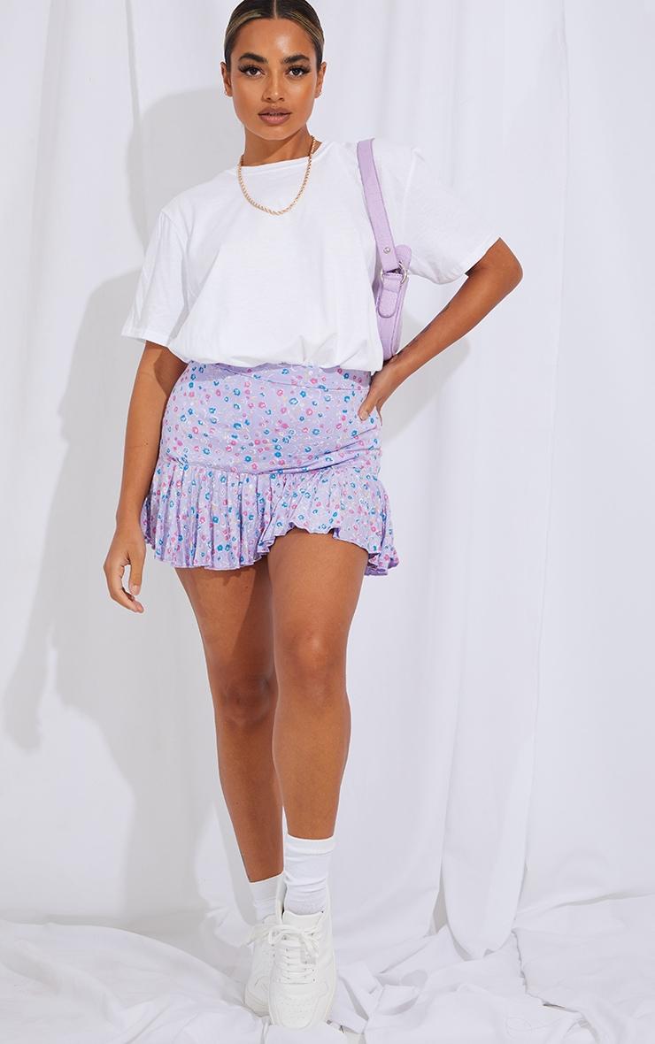 Petite Purple Ditsy Floral Frill Hem Mini Skirt 1