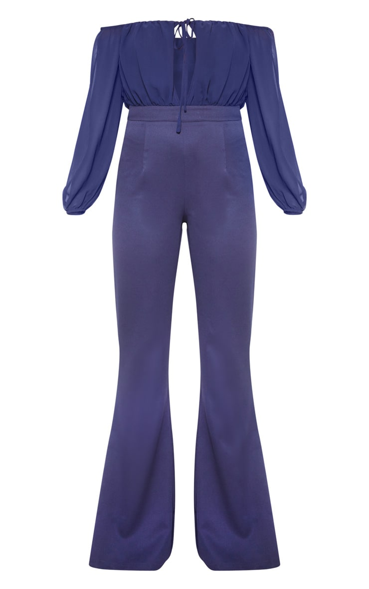 Midnight Blue Tie Front Puff Sleeve Flared Jumpsuit 3