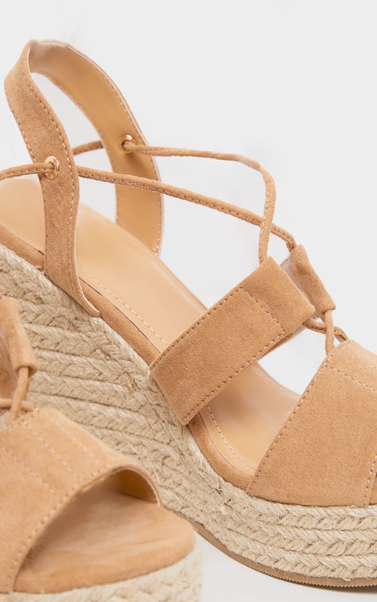 Tan Ghillie Lace Up Espadrille Wedge 4