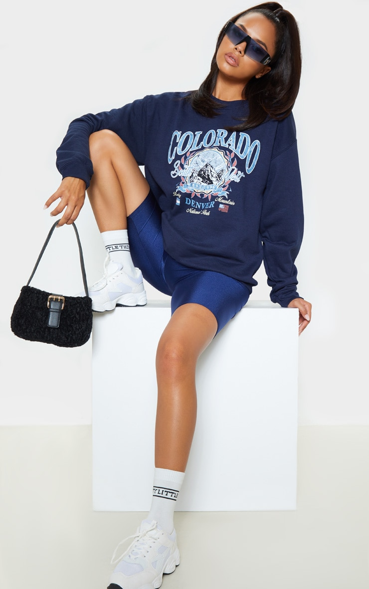 Navy Colorado Slogan Sweater 1