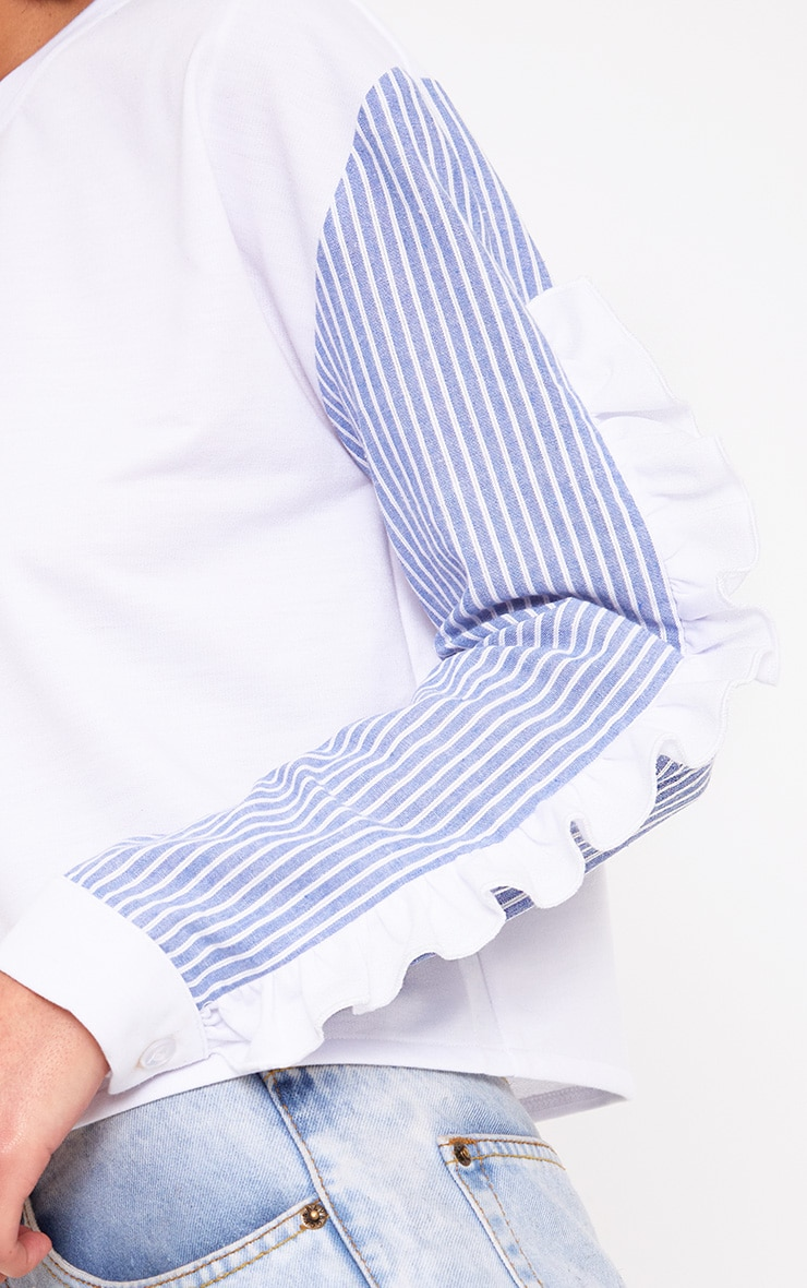 White Stripe Sleeve Frill Detail Sweater 5