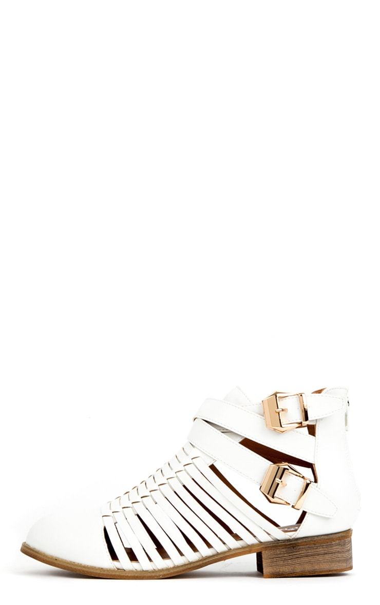 Samantha White Ankle Cut Out Shoe Boots 1