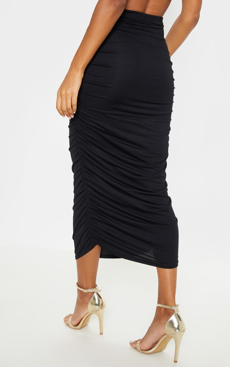 Black Second Skin Ruched Midaxi Skirt 4