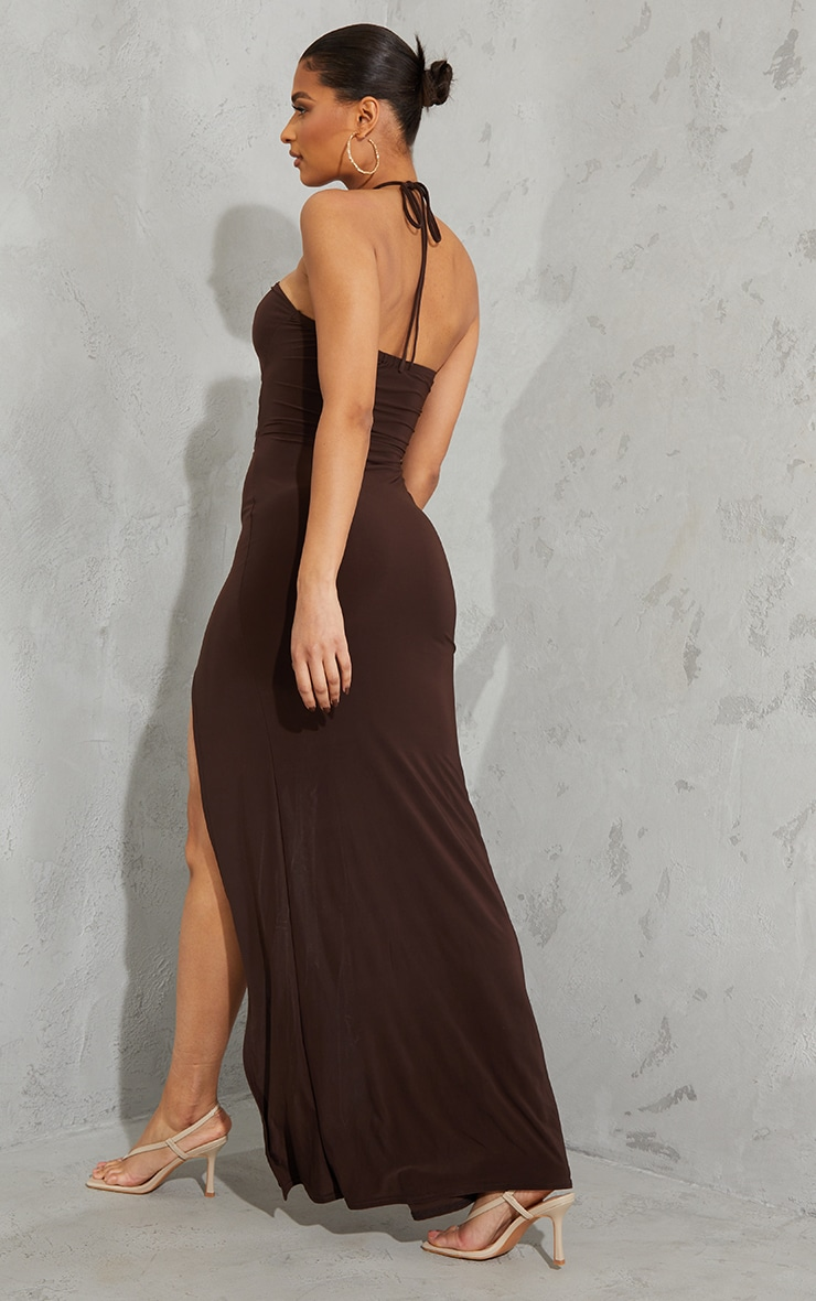 Chocolate Slinky Ring Detail Cut Out Halterneck Maxi Dress 2