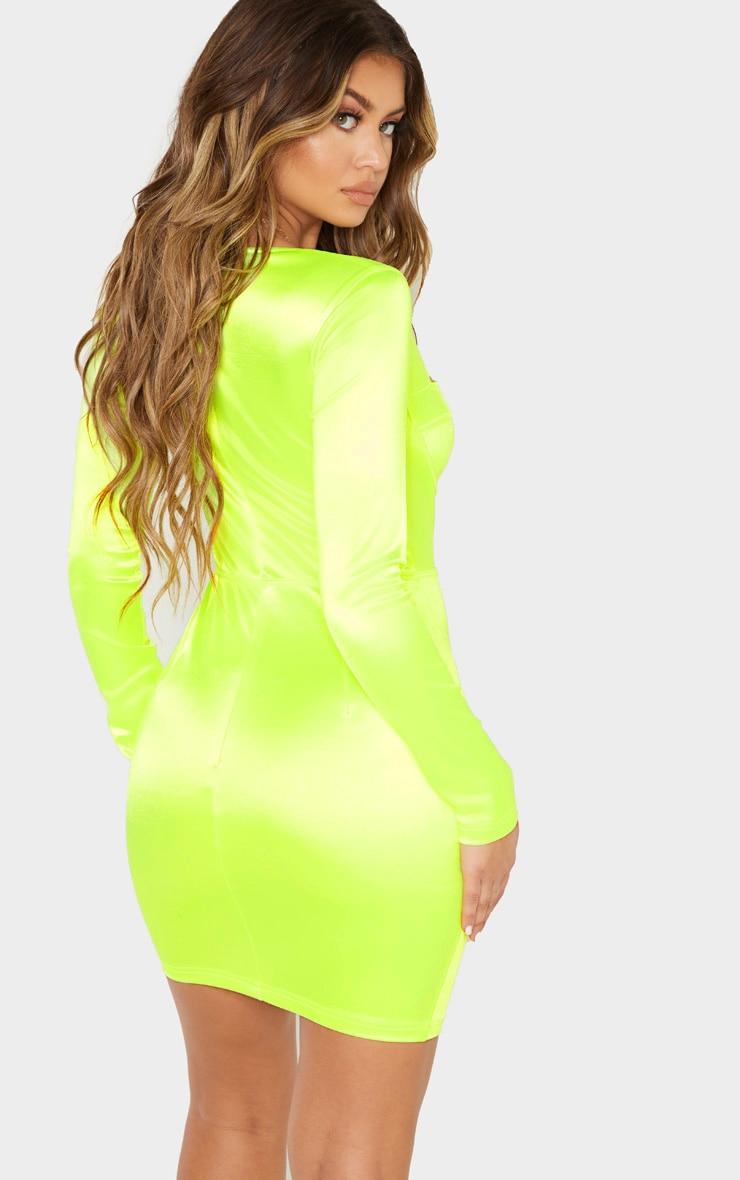 Neon Lime Satin Cup Detail Bodycon Dress 2