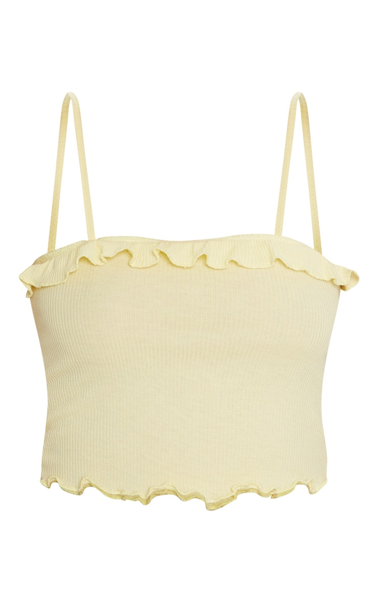 Yellow Rib Frill Detail Cami Crop Top 3
