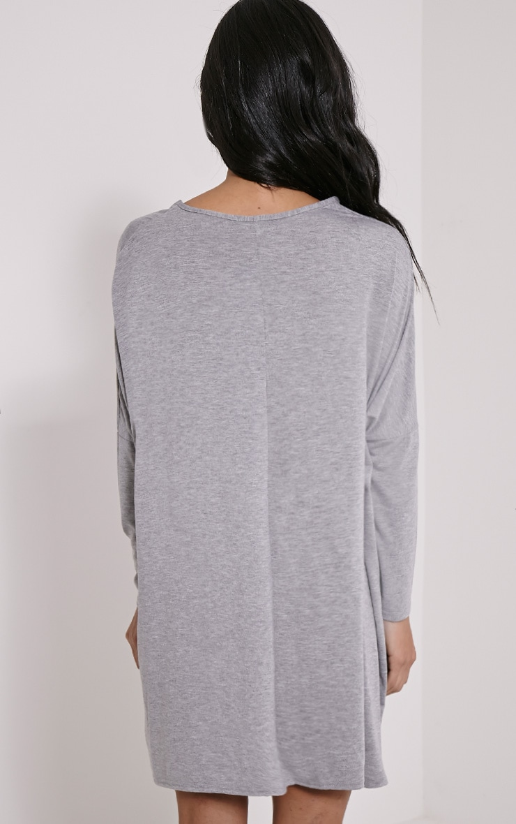 Basic Grey Marl Long Sleeve Jersey Dress 2