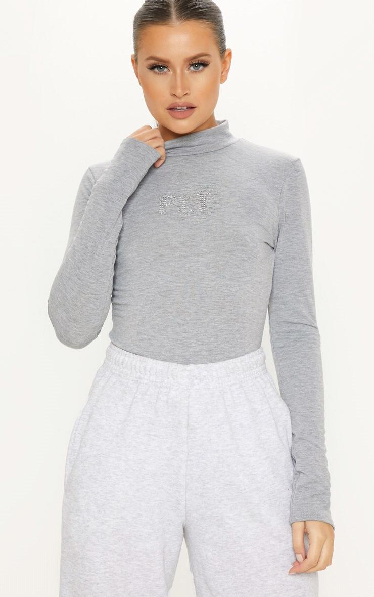 Plt Space Grey Diamante High Neck Bodysuit by Prettylittlething
