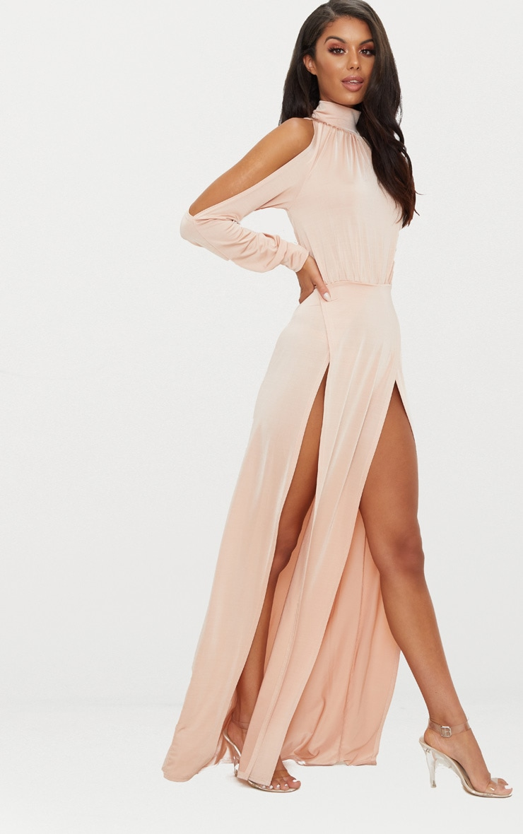 Nude High Neck Double Extreme Split Maxi Dress 4
