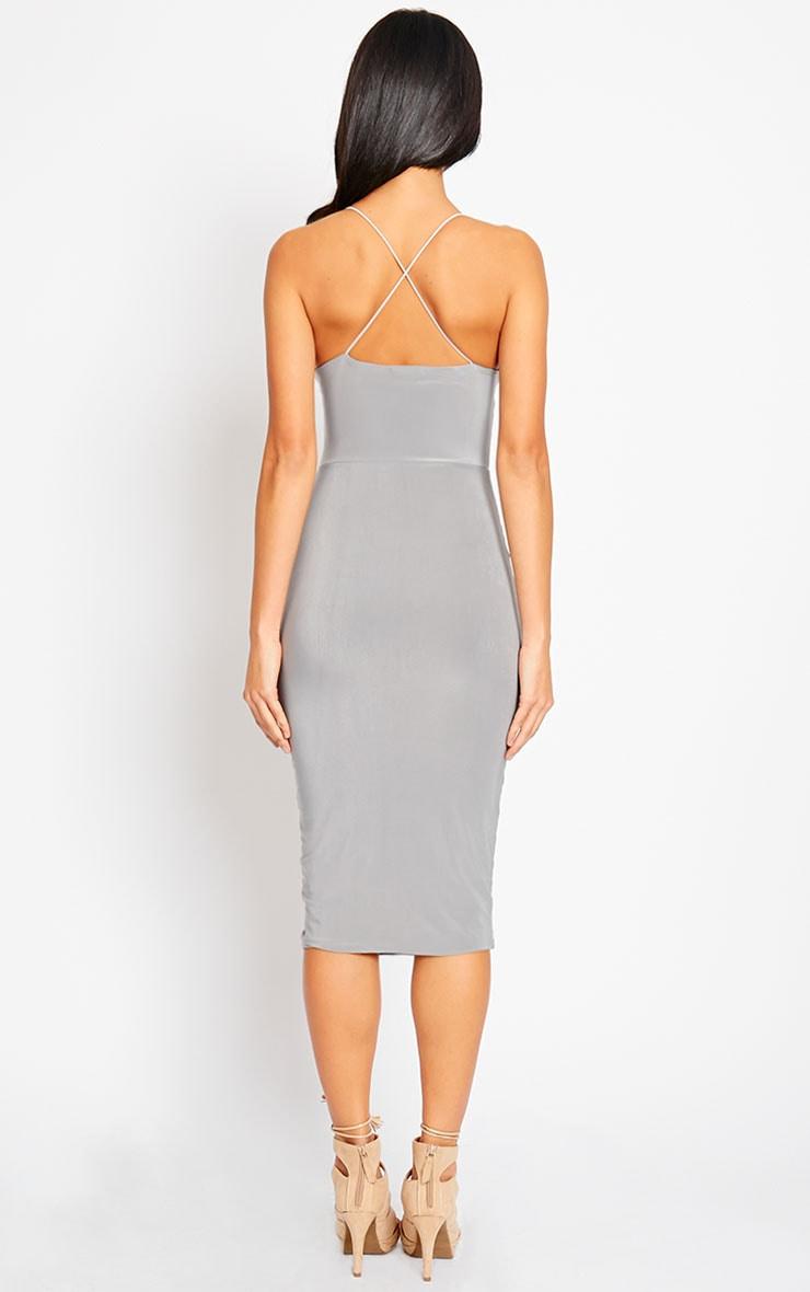 Deanna Grey Slinky Cross Back Midi Dress 2