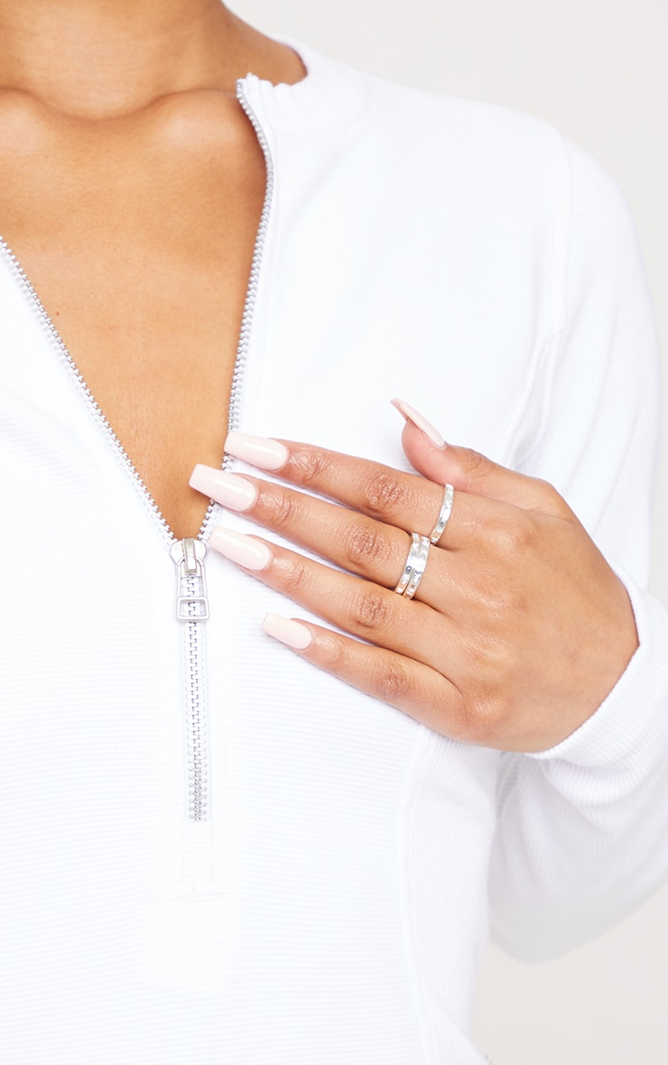 Silver Roman Numeral Skinny Ring 3 Pack 1