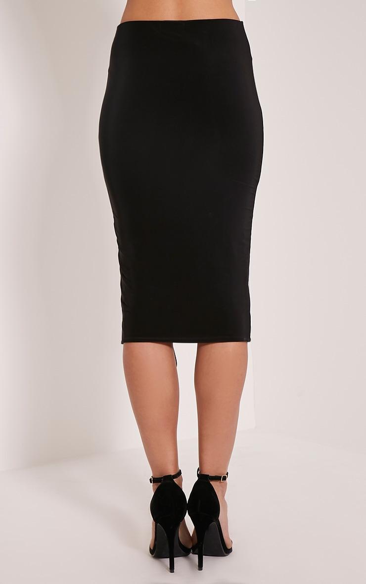 Ameria Black Lace Up Detail Midi Skirt 5